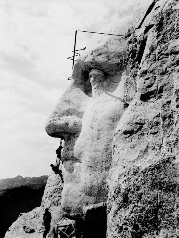 Mount Rushmore under construction